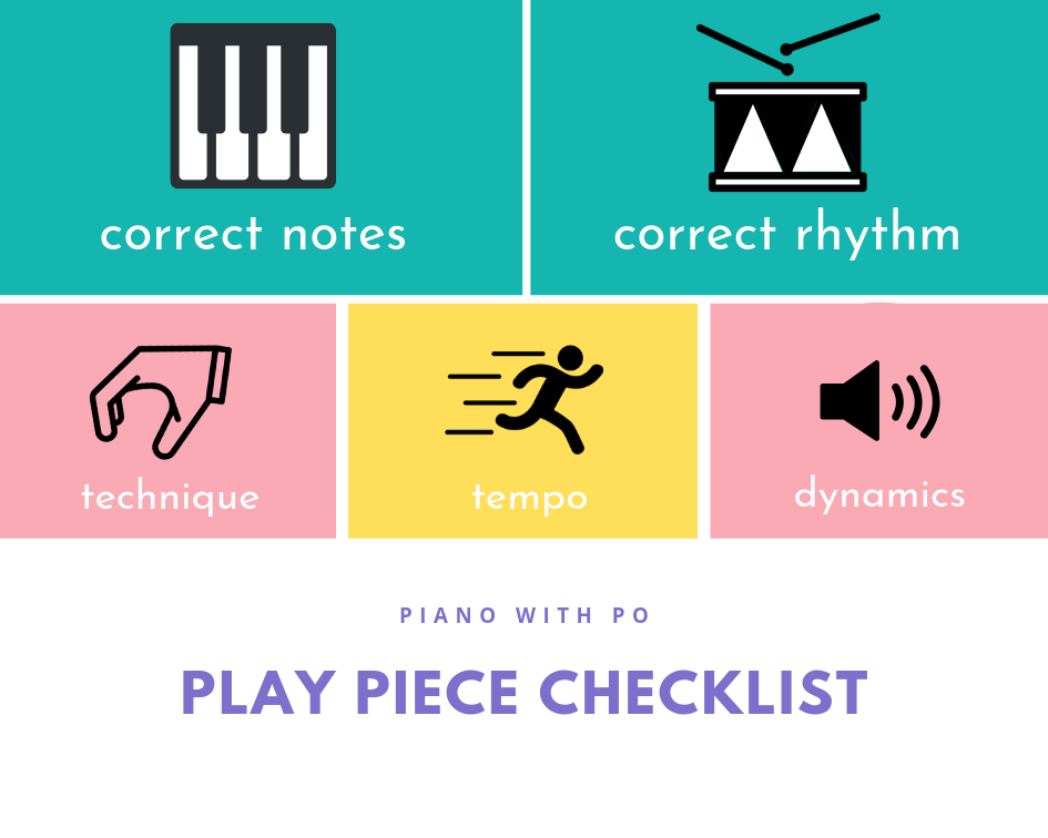 Play Piece Checklist by Piano with Po